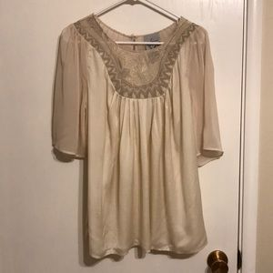 Anthropologie Sains brand cream embroidered top M